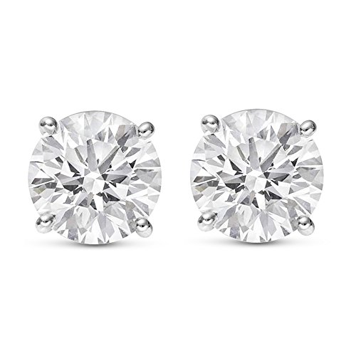 Near 1 Carat Total Weight White Round Diamond Solitaire Stud Earrings Pair set in 14K White Gold 4 Prong Push Back (H-I Color I2 Clarity)