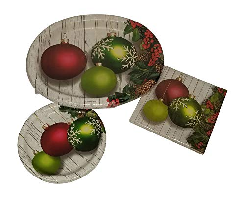 Christmas Ornaments Tableware Bundle Christmas Paper Holiday Serving Plates -