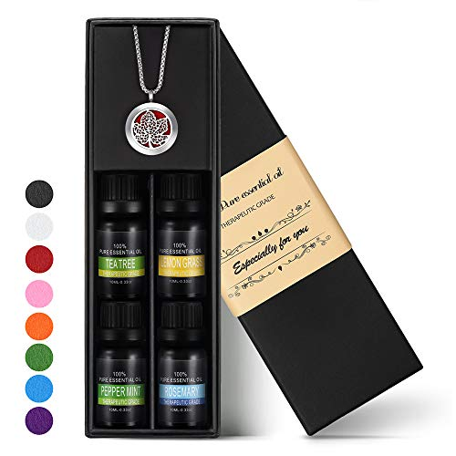 Birthday Gifts for Women- Essential Oil Diffuser Pendant Necklace w/Top 4 100% Pure Natural Essential Oils (Tea Tree, Lemongrass, Peppermint and Rosemary, 10ML/pcs) Unique Present for Mom and Friends