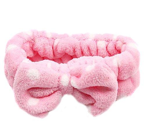 EJY Colors Bow Knot Wash Face Headband Soft Polka Dots Makeup Cosmetic Hair Band (pink)