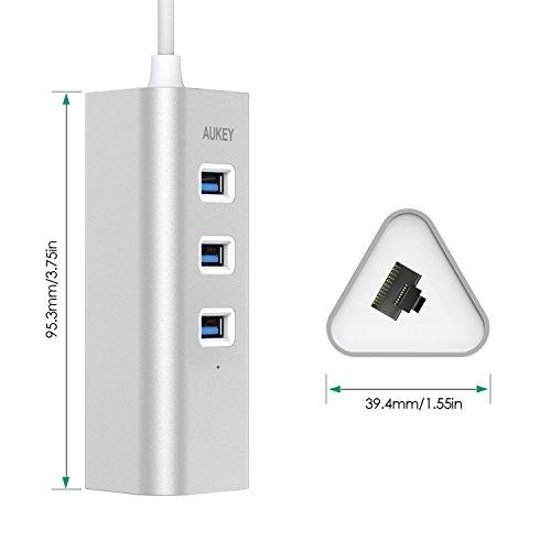 AUKEY USB-C Hub with Ethernet, 3 USB 3.0 Ports, Silver ...