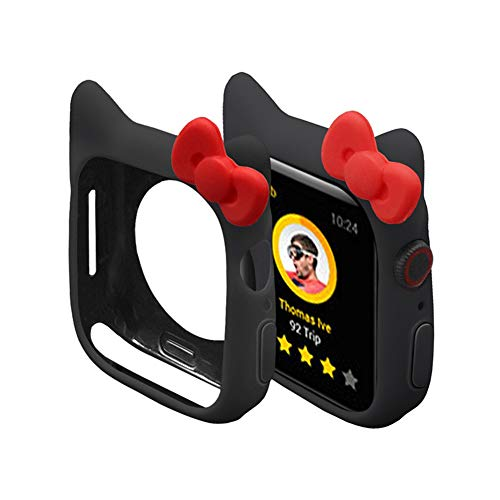 Cute Silicone Case for iWatch, Shock-Proof and Shatter-Resistant Protective Protective Case Compatible for Apple Watch 40mm 44mm 38mm 42mm Series 5 4 3 2 1 (Black, 42mm)