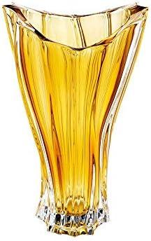 Czech Bohemian Crystal Glass Vase 12 -Height Amber-Yellow Flower Vase Elegant Centerpiece Vintage Plantica European Design Home Decor Birthday Wedding Housewarming