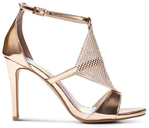 AFFORDABLE FOOTWEAR Women's Open Toe Stiletto High Heel T-Strap Crystal Embellished Dress Sandal - (Gold) - 10