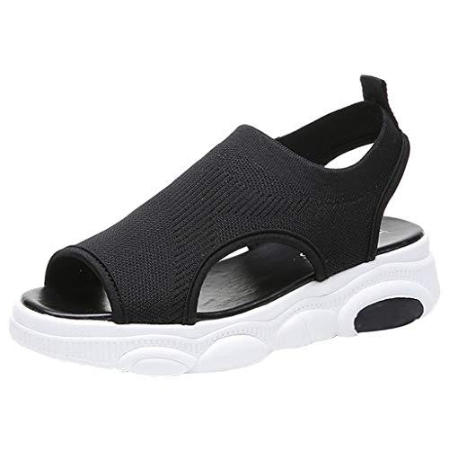 2019 Women Summer Bear Bottom Female Sandals Knit Socks Fish Mouth Flat Comfort Walking Sports Shoes Breathable Sneakers (Black, ()