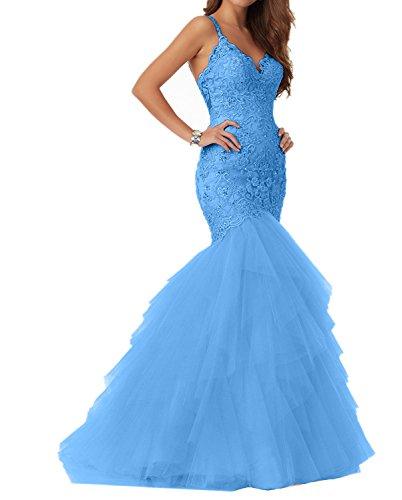 Meerjungfrau Ballkleider Glamour Rosa Damen Abendkleider Figurbetont Partykleider Blau Promkleider Charmant Spitze nPS8wxqTq
