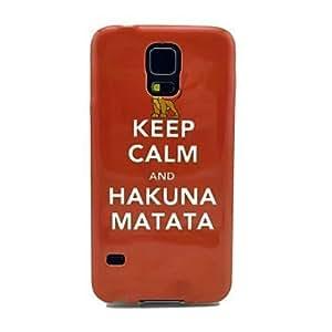 Keep Calm and Hakuna Matata Pattern TPU Soft Case Cover for Samsung Galaxy S5 I9600