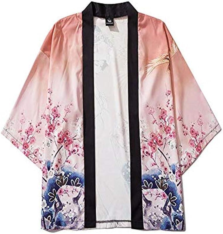 TINGS Japońskie Kimono Tradycyjny nadruk Couple Tops Orient Ethnic Cardigan Kimono Haori Unisex Thin Loose Yukata Chiffon Asian Clothes, Style 2,XXL: Küche & Haushalt