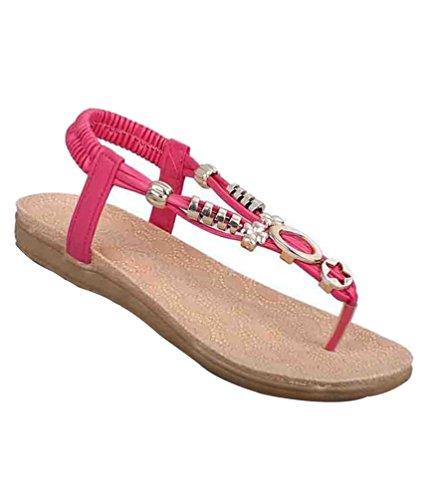 YOUJIA Mujeres Adornos de Metal Elegante T-Correa Bohemia Sandalias Verano Zapatos Planos #2 Rojo