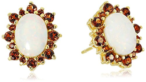 (18k Yellow Gold Plated Sterling Silver Oval Created White Opal and Genuine Garnet Starburst Halo Stud Earrings)