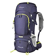 Mountaintop 60L Water-resistant Internal Frame Backpack Hiking Backpacking Packs for Outdoor Hiking Travel Climbing Camping Mountaineering with Rain Cover YKK zipper buckle-M6012MEW