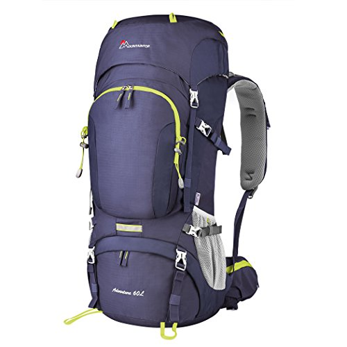 MOUNTAINTOP 55L/65L Internal Frame Backpack Hiking Backpack with Rain Cover (60L-Purple)