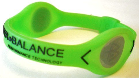 Power Balance Bracelet vert au néon avec Volt Argent / Noir métallisé holographique (Moyen)