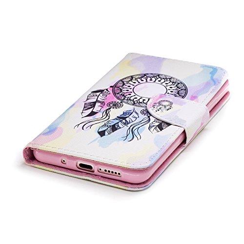 Funda para Huawei Mate 10 Pro , IJIA Dreamcatcher TPU + PU Cuero Ranuras para Tarjetas de Crédito Flip Caja [Estilo Libro,Soporte Plegable ] Cover Tapa Caso Parachoques Carcasa Cubierta Shell para Hua