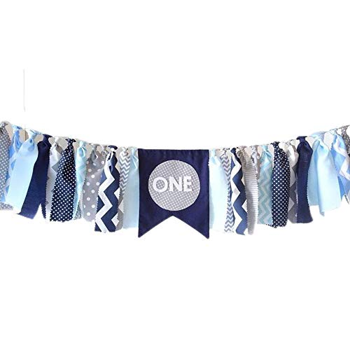 Navy Blue 1st Birthday Decorations Banner, Navy, Grey, Gray, Blue, First Birthday Banner, Highchair Banner, Cake Smash, Photo Prop,boy Birthday Party Supplies, Baby Shower Decor Nautical Theme Decor