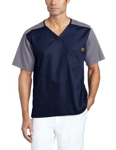 Carhartt Men's Color Block Utility Scrub Top, Navy, Large (Yoke Block)