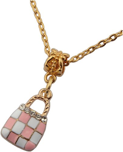 Pendant, Purse Pink and White Enamel Rhinestone Gold Colored Pendant + FREE CHAIN + FREE GIFT BAG