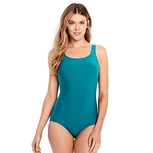 Lands' End Women's D-Cup Tugless One Piece Swimsuit Soft Cup, 6, Laguna Green - Laguna Green