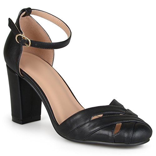 Black Collection Mary Round Ankle Toe Pumps Strap Journee Jane Womens FdOwxz