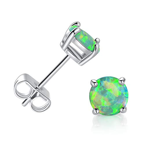 GEMSME 18K White Gold Plated With Created Green Opal 6mm Round Stud Earrings