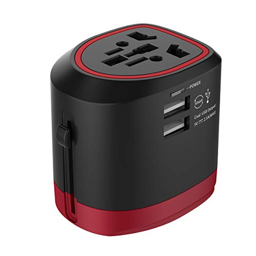 Universal Travel Adapter, Foxnovo International Power Adapter AC Plug All in one Worldwide Wall Charger with Dual USB Charging Ports for USA EU UK AUS Cell Phone, with Carrying Case ()