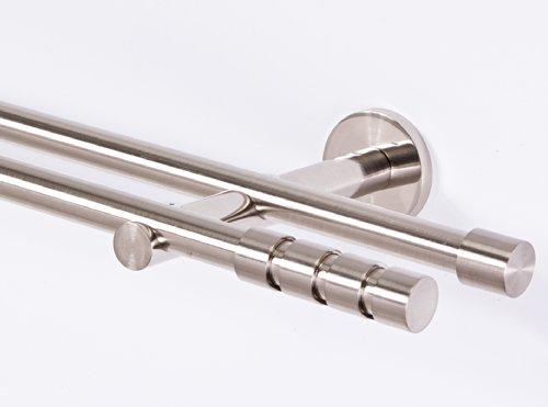 Gardinenstange 16 mm 2-läufig Edelstahloptik Metall Neu (140)