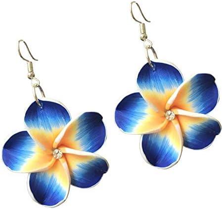 Hawaii Leaf Shape Flower Pattern Clay Earrings