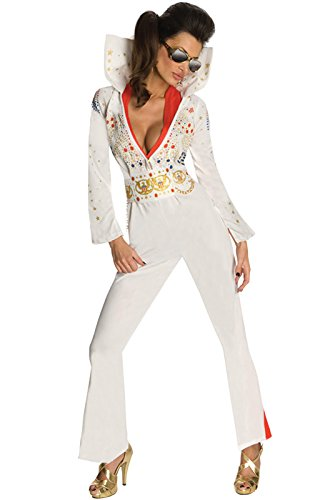 Secret Wishes Womens Elvis Jumpsuit Costume, White, - Elvis White Costume
