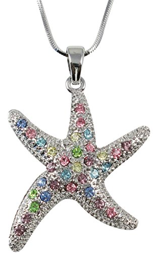 Cute Silver Tone Multicolor Pink, Blue, Green Crystal Sea Life Starfish Ocean Themed Pendant and Necklace