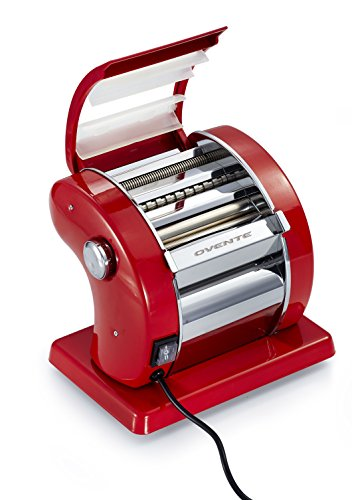 Ovente Revolutionary Electric Pasta Maker, 150mm, 90-Watts, 9 Thickness Settings, Stainless Steel, Metallic Red (PA815R)