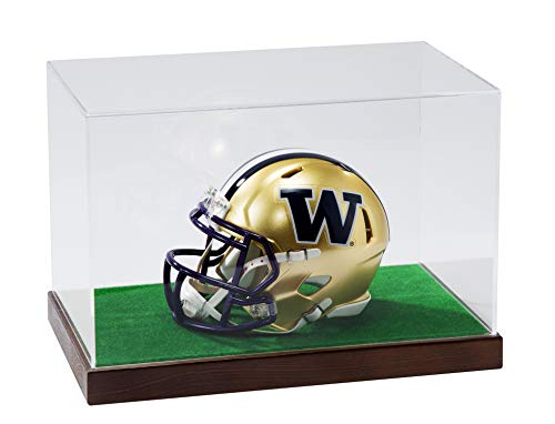 JackCubeDesign Wood Mini Helmet for Football Display Case Sports Showcase Storage Box Holder Organizer with Grass Stand and Clear Acrylic Cover(Black, 11.5 x 7 x 8 inches) - :MK195C