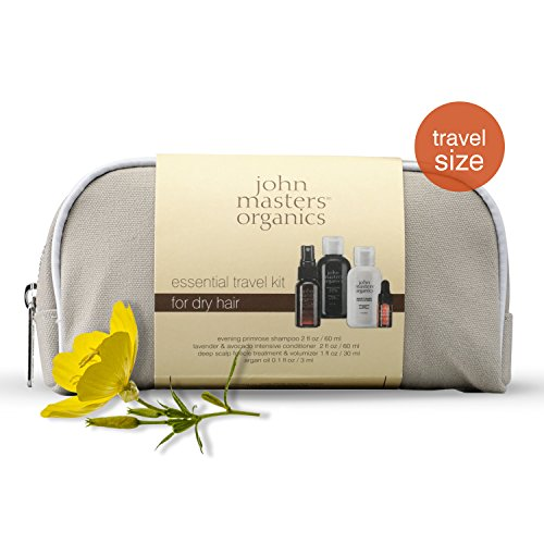 John Masters Organics - Essential Travel Kit for Dry Hair - Evening Primrose Shampoo for Dry Hair, Lavender & Avocado Intensive Conditioner, Scalp Follicle Treatment & Volumizer, and 100% Argan Oil