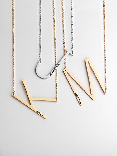 Sideways Initial Necklace Gift for her Personalized Gift MignonandMignon Best Friend Gift Best Friend Necklace - LBIN