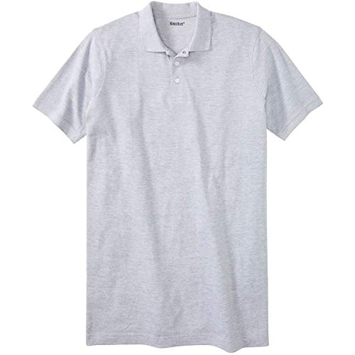 KingSize Men's Big & Tall Longer-Length Pique Polo Shirt, Heather Grey ()