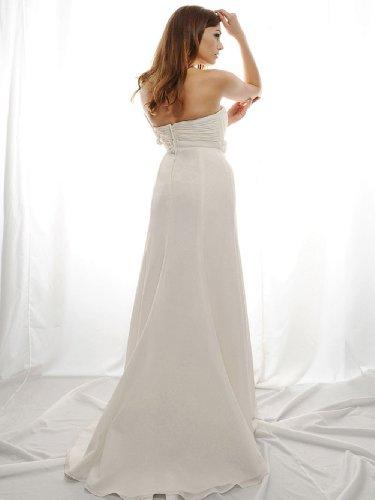 Lemandy Robe de mariée longue mousseline fleurs perlés ivoire