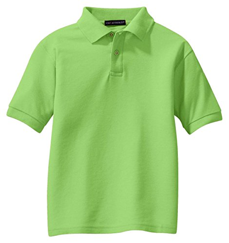 Port Authority Youth Silk Touch; Sport Shirt>XS Lime