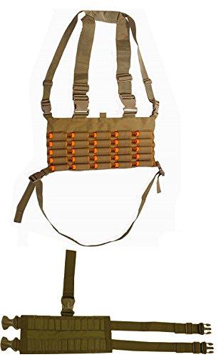 Coyote Tan Chest Rig 25 Round 12 & 20 GA Gauge Elastic Shotgun Shotshell Holder Hunting Harness Vest with Hidden Internal Utility Pocket + Ambidextrous 24 Shell Ammo Reload Carrier Thigh Dropleg