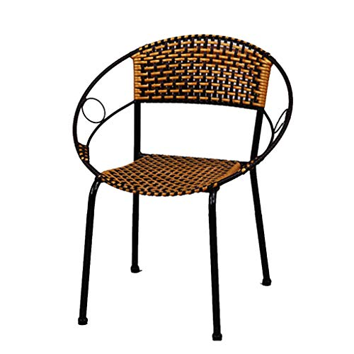 ch-AIR Wicker Chair, Home Wicker Chair, Woven Backrest Summer Cool Chair, Non-Slip Foot Pad, Metal Frame, for Balcony, for Outdoor, Sitting Height 38cm (Color : Two-Tone)