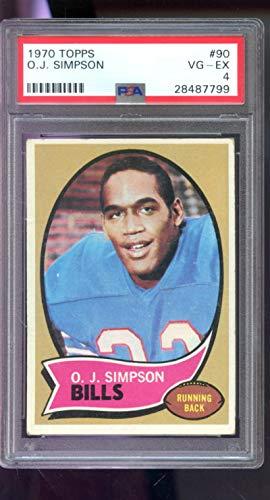 1970 Topps #90 O.J. Simpson O J OJ NFL ROOKIE RC PSA 4 Graded Football ()