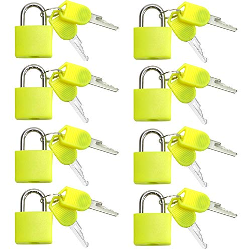 VIP Home Essentials - Small Mini Durable ABS Covered Solid Brass Body Individually Keyed Padlock - 8 Pack Lock Set (Yellow)