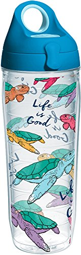 Tervis 1265565 Life Is Good-Turtle Pattern Insulated Tumbler with Wrap and Turquoise Lid, 24 oz, Clear