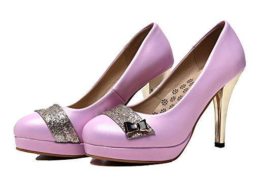 Solid Heels Pull Shoes Round Women's Purple On High PU WeiPoot Toe Pumps 5Zwx0qAIq