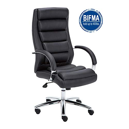 LCH Office Task Chair Headrest Lumbar Support Arms Adjustable Height Heavy Duty Double Plush Leather Chair with 400lbs Weight Capacity,Black A - Computer Task Leather Black