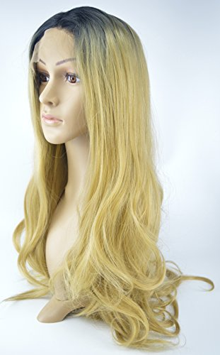 Leyee Blonde Glueless Synthetic Lace Front Wigs Long Natural Wave Half Hand Tied Wavy Full Wig Dark Roots Heat Resistant Fiber Hair (20 inches, Style - (Flapper Costume Ideas Diy)