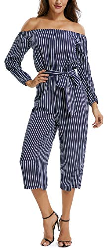 (MISS MOLY Women's Off Shoulder 3/4 Sleeves Wide Leg Belted Striped Jumpsuits Romper Pants Sexy Cute Casual Summer M)