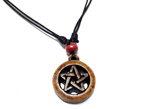 Triangle Pewter Stand (Powerful Inverted Pentacle Pentagram Star Pewter Pendant Necklace Adjustable Black Cord (Brown))