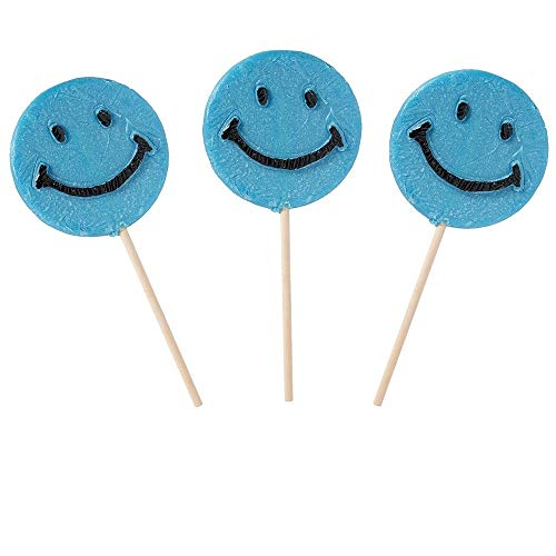 (Happy Smiley Face Blue Lollipops, 1.5 oz - 36 count box)