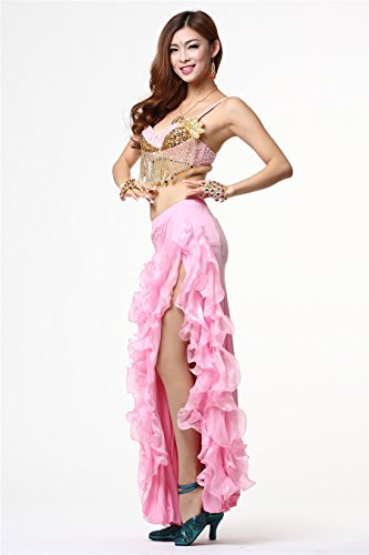 Dancewear Tops Bra Costumes Bead Fringe Bra Sequin Flower Top Belly Dance Light Pink