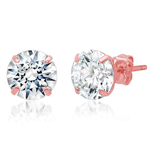 14k Solid Rose Gold ROUND Stud Earrings with Genuine Swarovski Zirconia | 3.0 CT.TW. | With Gift ()