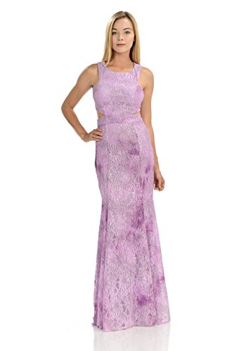 TwinMod Geometric Color Marbled Lace Prom Bridesmaid Evening Dress (X-LARGE, LILAC)